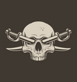 a skull with crossed sabers vector image vector image
