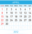 april calendar vector image vector image