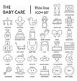 baby thin line signed icon set toy symbols vector image