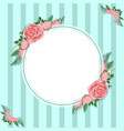 background template with pink roses on green vector image