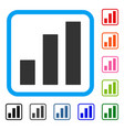 bar chart framed icon vector image vector image