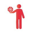 basketball game player with ball equipment vector image vector image