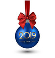 blue 2019 new year christmas ball with red satin vector image vector image