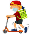 boy on kick scooter delivery food vector image vector image