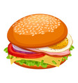 breakfast sandwich with cheese green lettuce vector image vector image