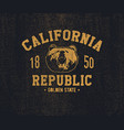 California t-shirt with grizzly bear head