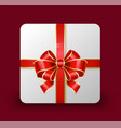 carton box with red ribbon bow gift for holidays vector image vector image