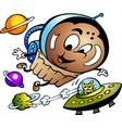 cartoon a happy muffin astronaut vector image