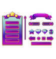 cartoon purple assets and buttons for ui game vector image vector image
