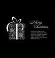 christmas card black and white template vector image