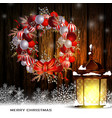 christmas decoration with street lights vector image