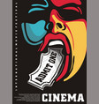 cinema poster with man graphic and cinema ticket vector image vector image