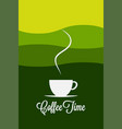 coffee cup logo morning landscape concept vector image vector image