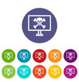 computer monitor with a skull and bones set icons vector image