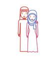 cute arab couple cartoon neon lines vector image vector image