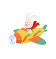 cute rabbit flying an airplane with scarf vector image vector image