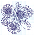 doodle bouquet of sunflowers vector image