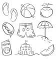 doodle of summer object on beach vector image vector image