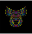 engraving stylized psychedelic pig portrait on vector image vector image