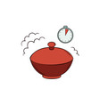flat noodles in closed bowl with timer icon vector image
