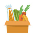 grocery box with vegetables fruits and bread vector image