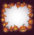 halloween frame with scary pumpkin monsters vector image vector image