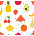 hand drawn seamless pattern with cartoon fruits vector image