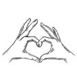 hands making heart sign engraving vector image vector image