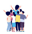 hugging friends young people group together vector image