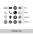icon collection for business card eps10 vector image vector image