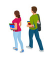 isometric a students with gadgets and books vector image vector image