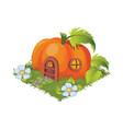 isometric cartoon fantasy pumpkin village house vector image vector image