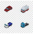 isometric transport set of first-aid lorry car vector image vector image