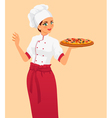 Italian tasty pizza and woman chef vector image