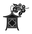 Japanese lantern icon in black style isolated on vector image