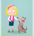 little girl and dog vector image vector image