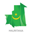 map mauritania with an official flag on white vector image vector image