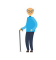 old man walking with stick full length vector image