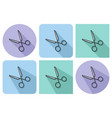 outlined icon of scissors with parallel and not vector image vector image
