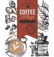 package vintage style coffee and beans sketch vector image