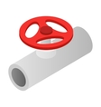 Pipe with a red valve isometric 3d icon vector image vector image
