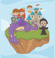 princess knight dragon witch and fairy design vector image