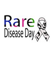 rare disease day bright themed lettering with vector image vector image