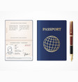 realistic detailed 3d international passport blank vector image vector image