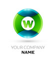 realistic letter w logo symbol in colorful circle vector image vector image