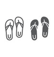 sandals line and glyph icon footwear and beach vector image