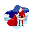 santa with bag on winter landscape background vector image