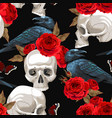 seamless pattern with raven and human skull vector image