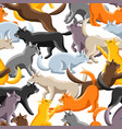 seamless pattern with stylized cats in various vector image vector image