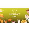 Set Of Snacks For Breakfast On Mustard Background vector image